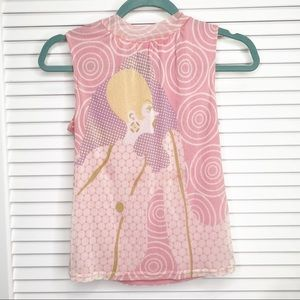 VINTAGE PINK BLOUSE WITH 30'S PRINT SIZE SMALL